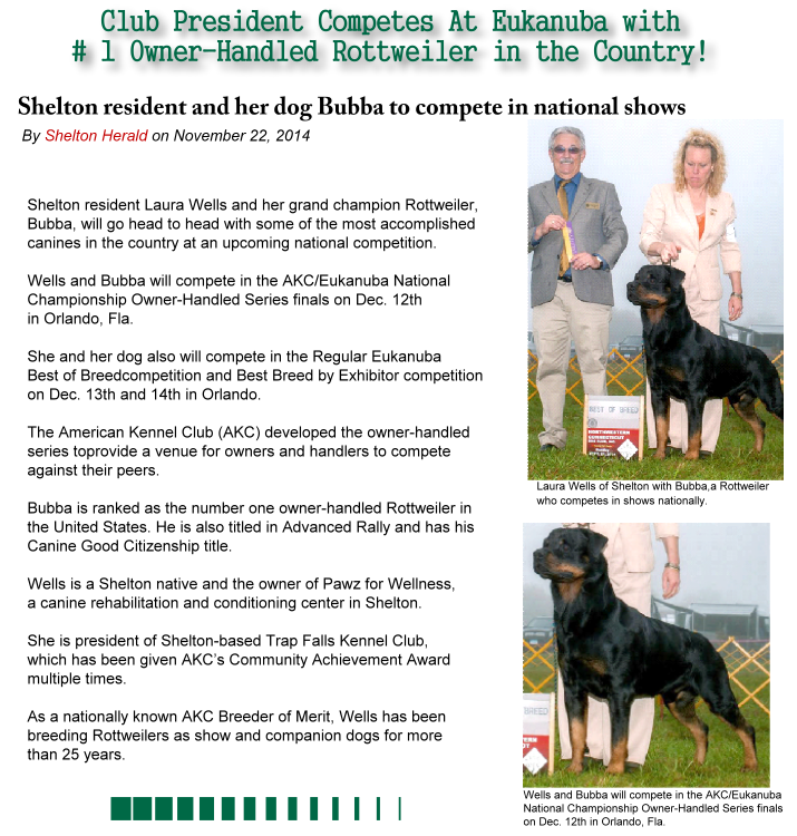 Club President Competes At Eukanuba with Number One Owner-Handled Rottweiler in the Country
